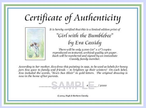 Sample certificate of authenticity for art gallery for Artist certificate of authenticity template